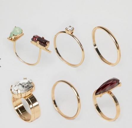 ASOS Pack of 6 Jewel Rings