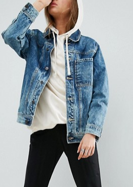 ASOS Denim Jacket in Blue Acid Wash With One Pocket Detail