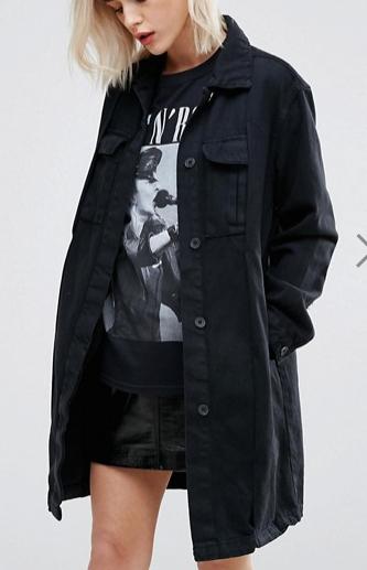 Pull&Bear Long Line Denim Jacket
