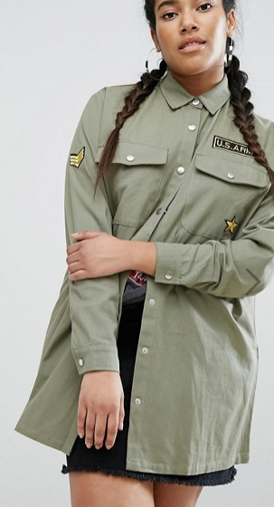 Daisy Street Plus Military Embroidered Shacket