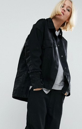 ASOS WHITE Denim Jacket With Organza Contrast In Washed Black