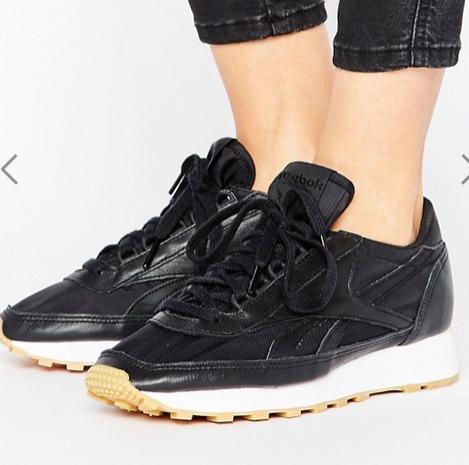 Reebok Geo-Tribal Sneakers In Black With Gum Sole