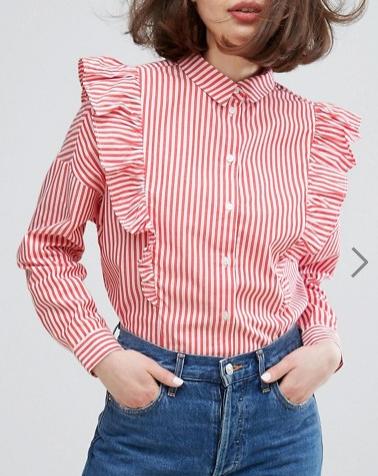 Monki Stripe Ruffle Shirt