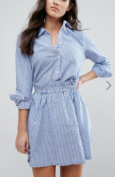 Y.A.S Kolo Stripe Neck Detail Shirt & Skirt Co-Ord