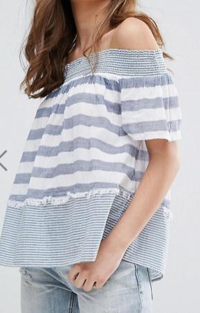 Miss Selfridge Stripe Bardot Top