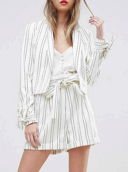 ASOS Striped Crop Bow Cuff Jacket and Paperbag Short Co-ord