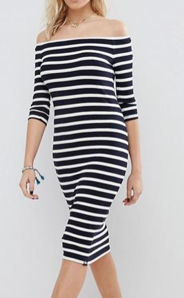 Superdry Stripe Off The Shoulder Dress