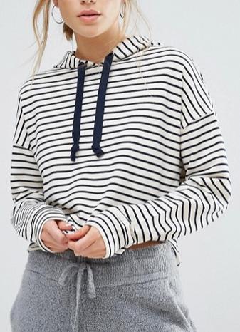 New Look Stripe Cropped Hoodie