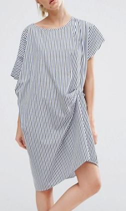 ZACRO Draped Shift Dress In Stripe