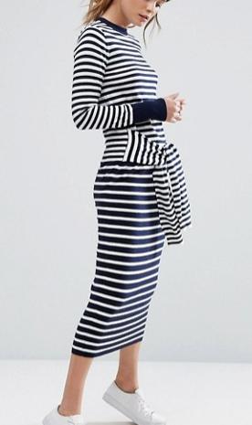 Warehouse Tie Front Stripe Dress