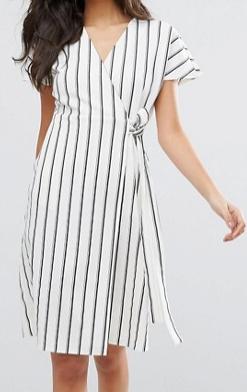 Vero Moda Striped Wrap Tea Dress