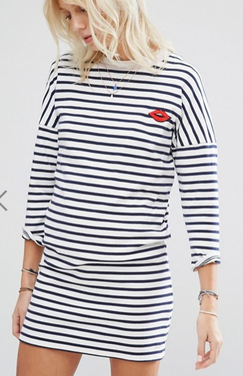 Maison Scotch Stripe Lip Motif Sweater Dress