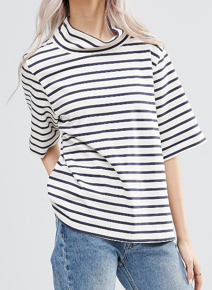 Ganni Old Spice High Neck Striped T-Shirt