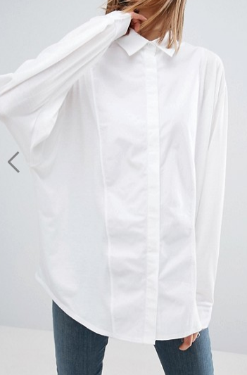 ASOS WHITE Oversized Jersey Shirt With Poplin Contrast Panel