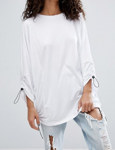 ASOS Top with Sport Tie Details in Oversized Fit