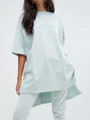 Ellesse Oversized Sweat T-Shirt With Stepped Hem And Tonal Print