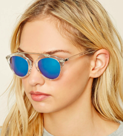 Forever 21 Mirrored Clear Sunglasses