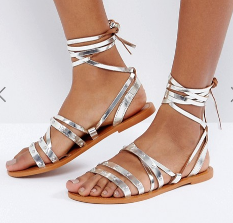 Pull&Bear Metallic Tie Up Leather Sandals Pull&Bear Metallic Tie Up Leather Sandals