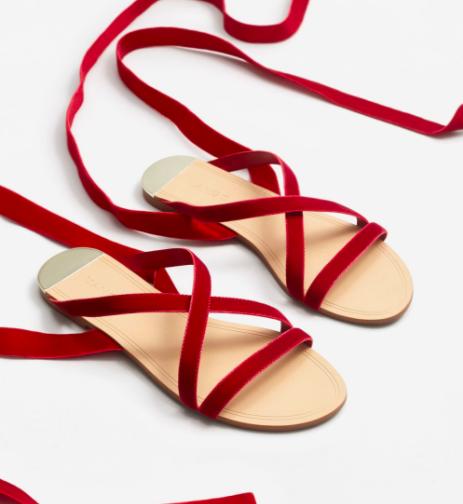 Mango Velvet strappy sandals