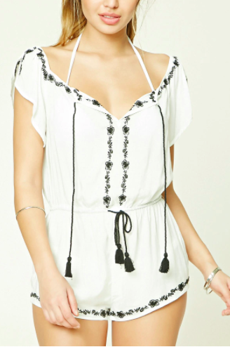 Forever 21 Floral Stitch Cover-Up Romper