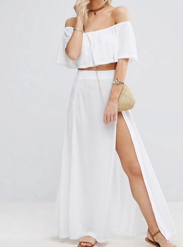 ASOS PETITE Beach Frill Top & Split Hem Maxi Skirt Co-Ord