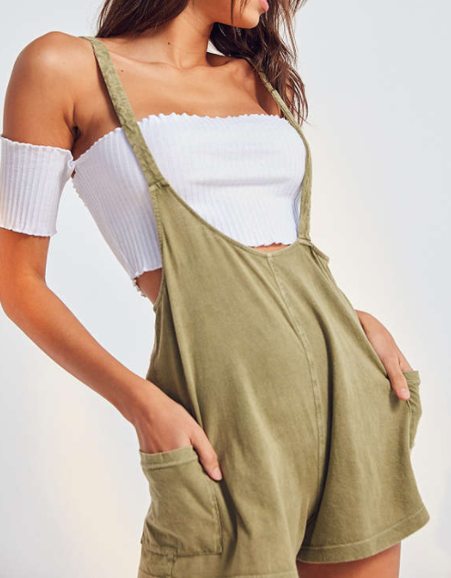 UO Out From Under Own It Asymmetrical Overall Romper