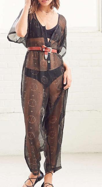 Ecote Tallulah Sheer Button-Down Jumpsuit