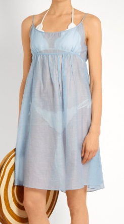 THIERRY COLSON  Slip cotton and silk-blend mini dress