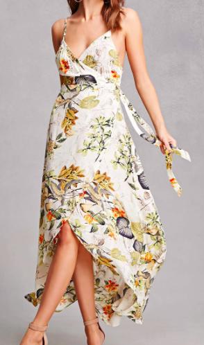 Forever 21 Tropical Floral Cami Wrap Dress