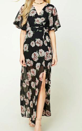 Forever 21 Surplice Floral Maxi Dress