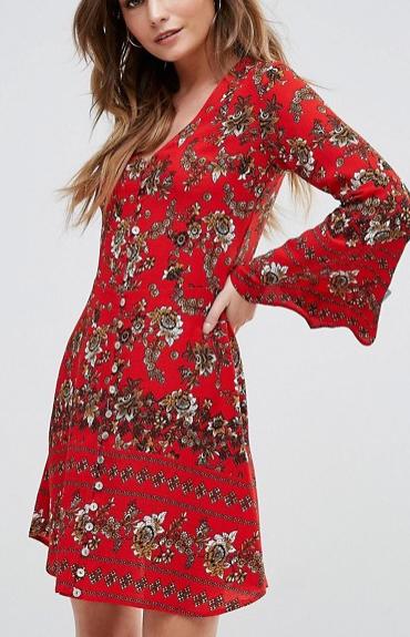 Boohoo Flute Sleeve Floral Print Swing Dress