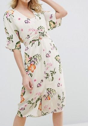 Vero Moda Floral Print Wrap Midi Dress