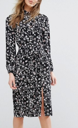 Miss Selfridge Floral Print Wrap Midi Dress