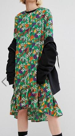 STYLENANDA Drop Hem Midi Smock Dress In Garden Floral