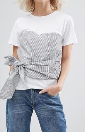 Pull&Bear Stripe Double Layer Corset Tie T-Shirt