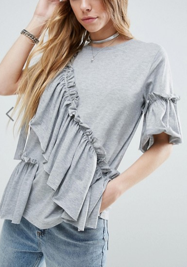 ASOS T-Shirt with Ruffle & Bow Detail