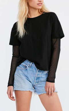 Silence + Noise Over Under Mesh Mix Tee