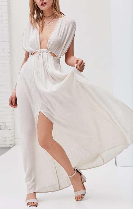 ASTR Octavia Gauzy Cutout Maxi Dress
