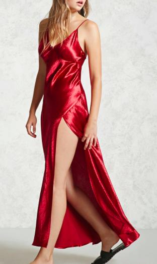 Forever 21 Crinkled Satin Maxi Slip Dress