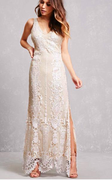 Forever 21 Soieblu Crochet Overlay Gown