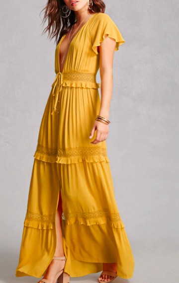 Forever 21 Plunging Crochet Maxi Dress