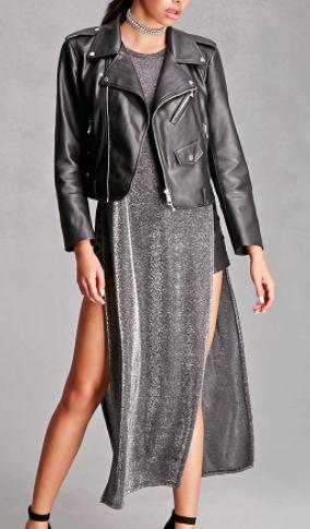 FOREVER 21 Metallic High Slit Dress