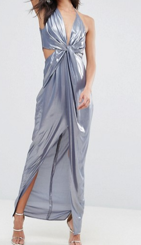 ASOS Metallic Cami Twist Front Maxi Dress