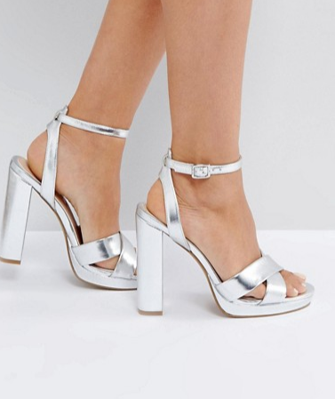 Office Nickles Silver Platform Heeled Sandals