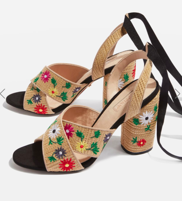 Topshop REENA Embroidered Tie Sandals