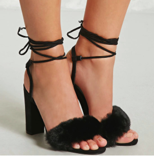 Forever 21 Faux Fur Ankle Wrap Heels