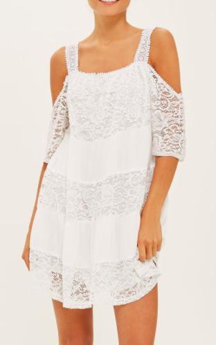 Topshop Lace Cold Shoulder Smock Dress
