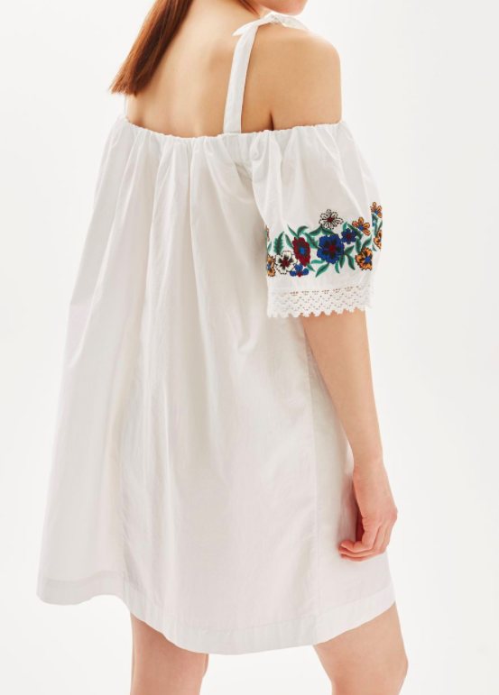 Topshop Embroidered Poplin Bardot Dress