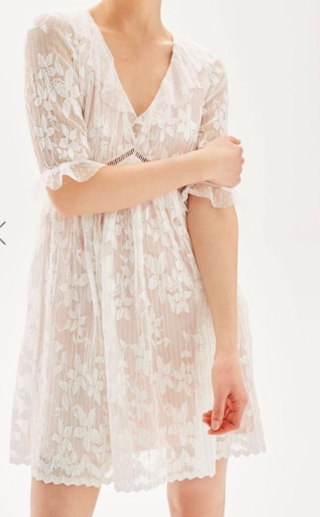 Topshop Pleat Lace Trim Flippy Dress
