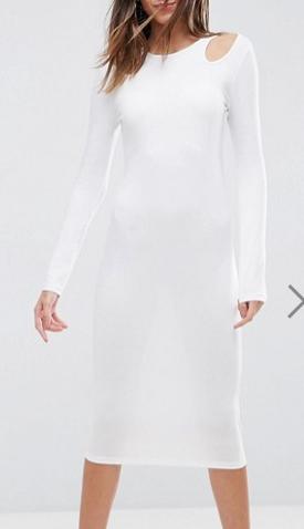 ASOS Midi Cut Out Shoulder Bodycon Dress